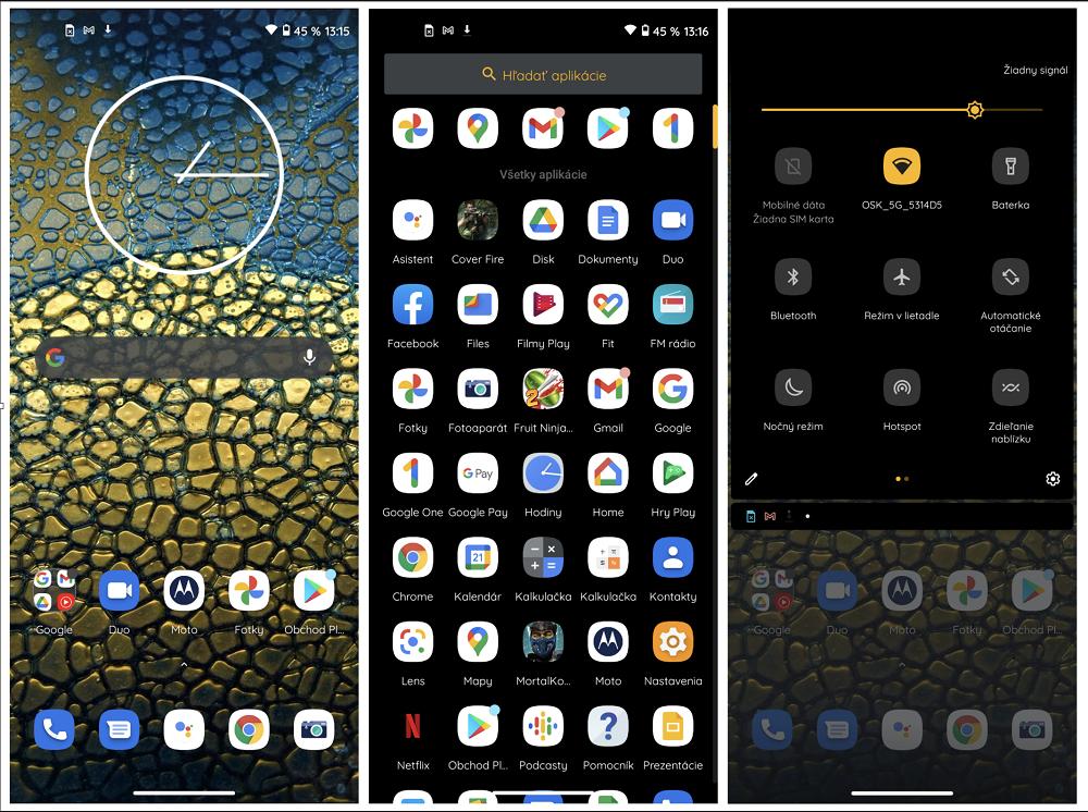 Ukážky prostredia operačného systému Motorola Moto G9 Power