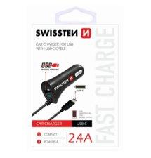 Autonabíjačka Swissten USB-C 2.4A - čierna