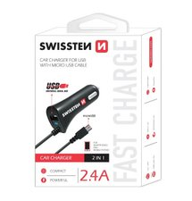 Swissten CL Autonabíjačka microUSB a USB 2.4A ,blister