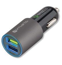 Autonabíjačka 4Smarts Quick charge 3.0 - 2x USB konektor, Grey