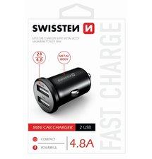 Autonabíjačka Swissten Metal Mini Adaptér 2xUSB 4,8A - čierna