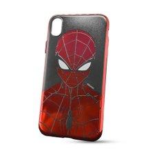 Puzdro Marvel TPU iPhone XR Spider Man vzor 014 (licencia) - červené chrome