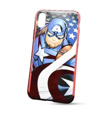 Puzdro Marvel TPU iPhone X/Xs Captain America vzor 004 (licencia) - červené chrome