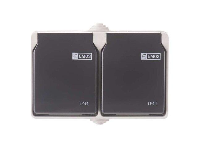 GO EM Zásuvka-2 sivá IP44 A1397.1