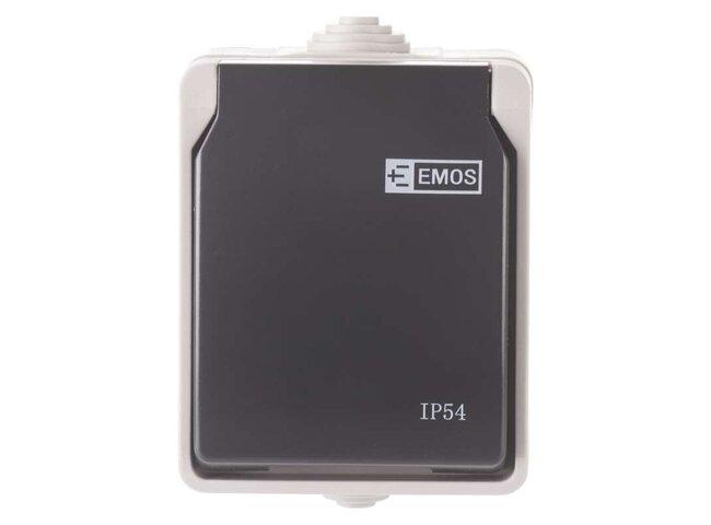 GO EM Zásuvka-1 sivá IP54 A1397