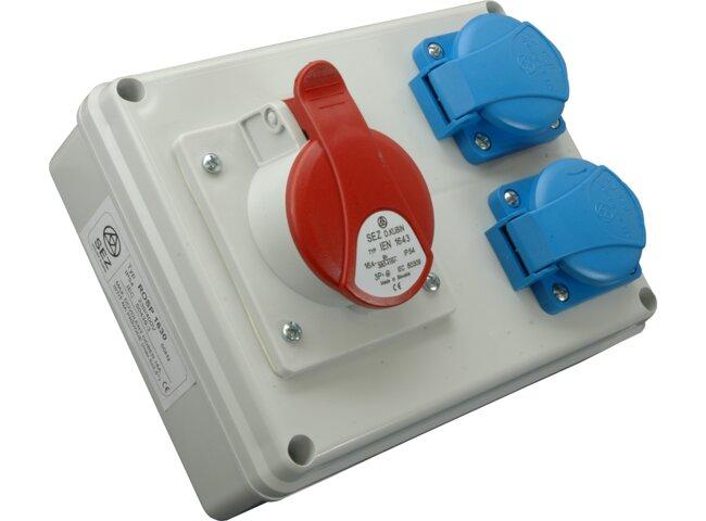Rozvodnica 4P 2x230V/16A ROSP 1630 + IEN 1643, IP54 vývodka TVM 16