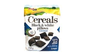 Cereálne vankúšiky s náplňou Black white s kokosom 250 g